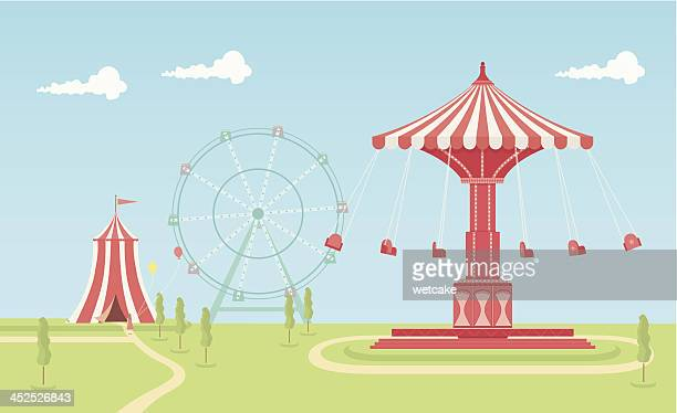 swing carousel fairground - ferris wheel stock illustrations, clip art, cartoons, & icons