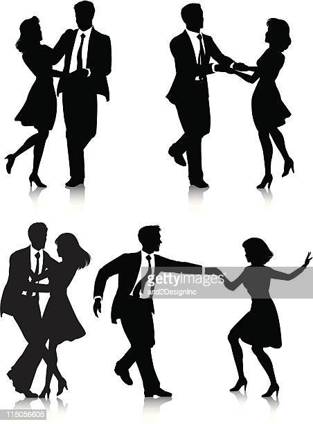 swing dancer silhouettes - dancing stock illustrations