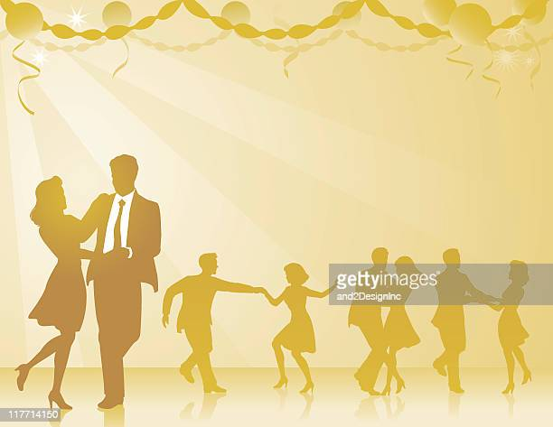 swing dancers background - swing dancing stock illustrations