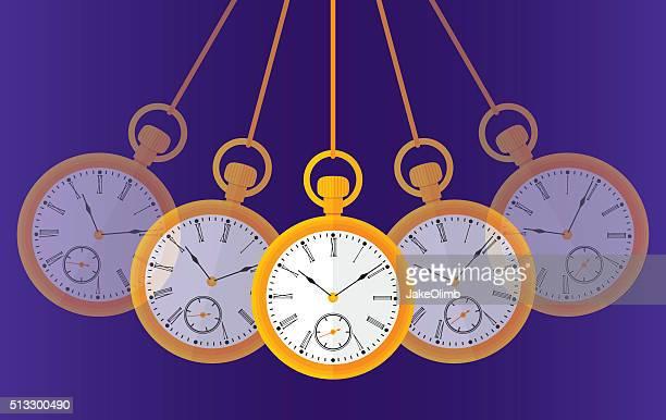 ilustraciones, imágenes clip art, dibujos animados e iconos de stock de balanceo reloj de bolsillo - reloj de bolsillo