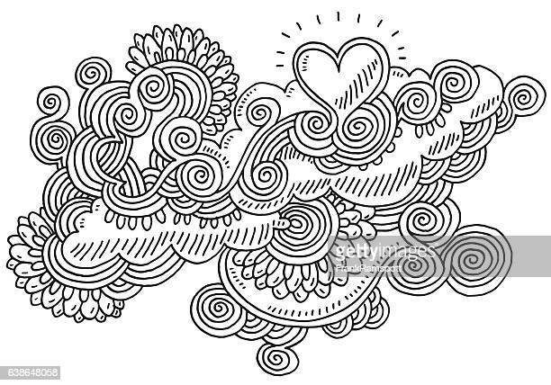 Swirl Abstract Doodle Love Heart Drawing