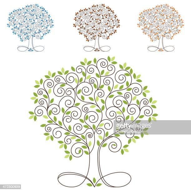 swirl four season tree - tree trunk stock illustrations, clip art, cartoons, & icons