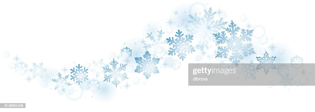 Swirl of blue snowflakes