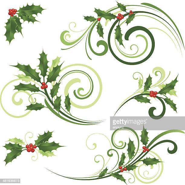 swirling christmas motifs - classical style stock illustrations, clip art, cartoons, & icons