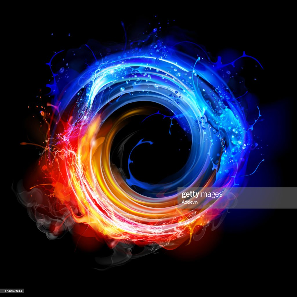 Swirling fire and water : stock illustration