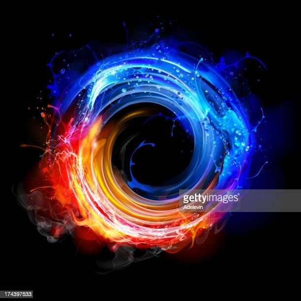 swirling fire and water - fire natural phenomenon stock illustrations, clip art, cartoons, & icons