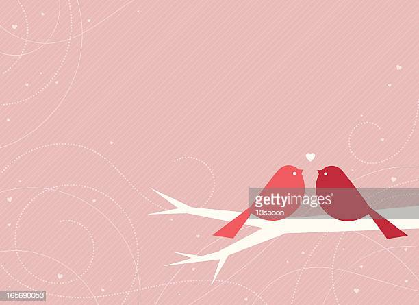 swirling love birds - dotted line stock illustrations