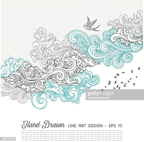 swirly doodles - cloudscape stock illustrations, clip art, cartoons, & icons