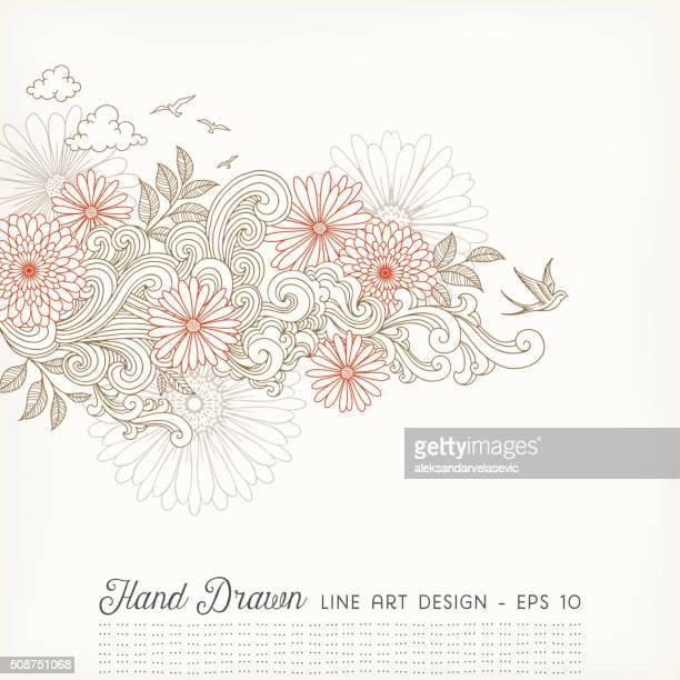 Swirly Blumenmuster Linie Kunst und Kritzeleien