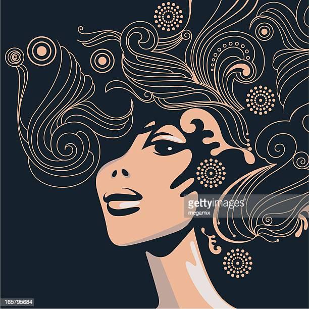 ilustrações de stock, clip art, desenhos animados e ícones de swirly estilo de cabelo. - cabelo cacheado