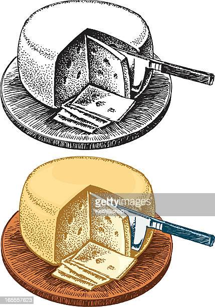swiss cheese wheel, appetizer - serving size stock illustrations, clip art, cartoons, & icons