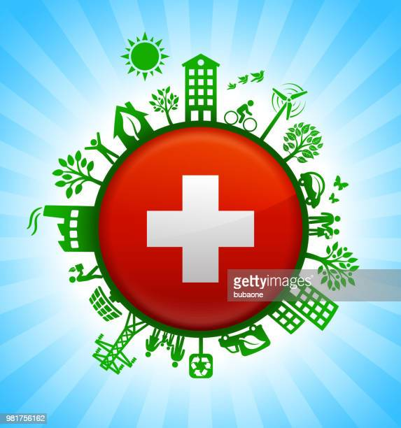 Swiss Flag on Environmental Conservation Background