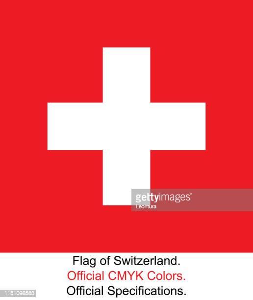 ilustrações, clipart, desenhos animados e ícones de bandeira suíça (cores oficiais de cmyk, especificações oficiais) - símbolo médico
