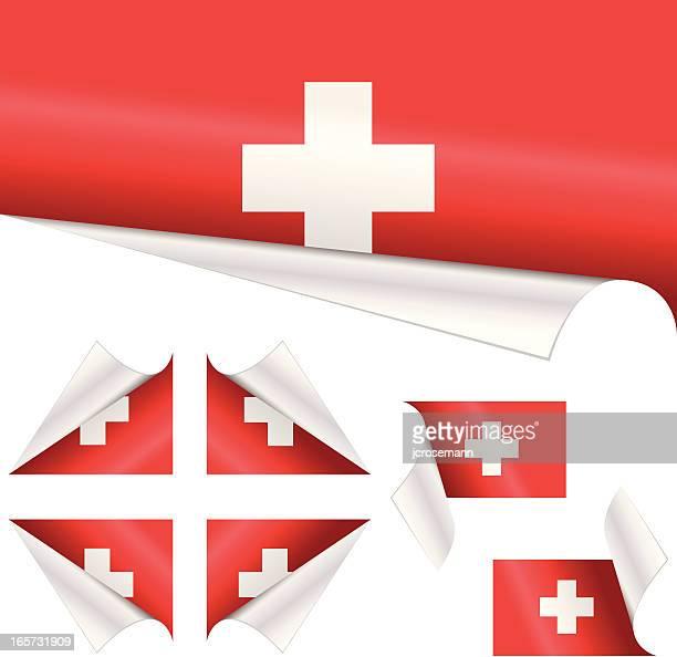 schweizer flagge hinter gelockter papier - schweizerische kultur stock-grafiken, -clipart, -cartoons und -symbole