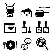 Swiss food and dishes icons - fondue, raclette, rösti, cheese