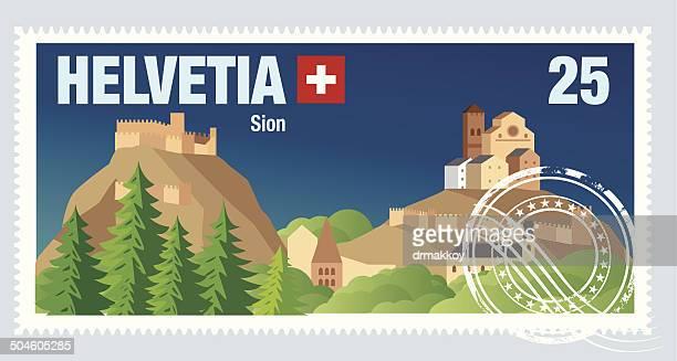 swiss postage - sion switzerland stock illustrations