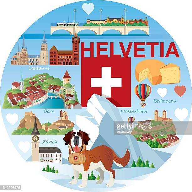 swiss travel - sion switzerland stock illustrations