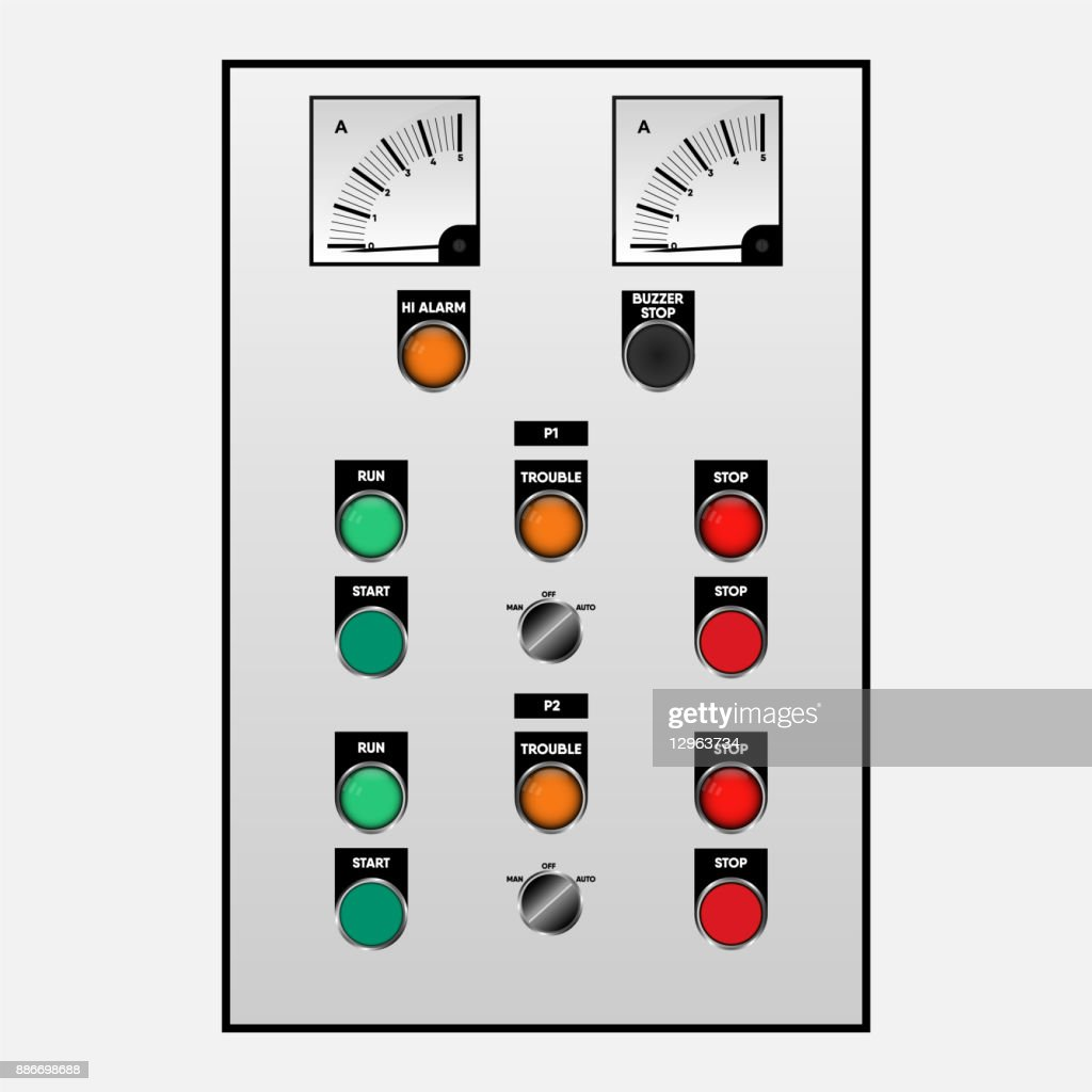 Switch controller for emergency case of electrical system., Vector, Illustration