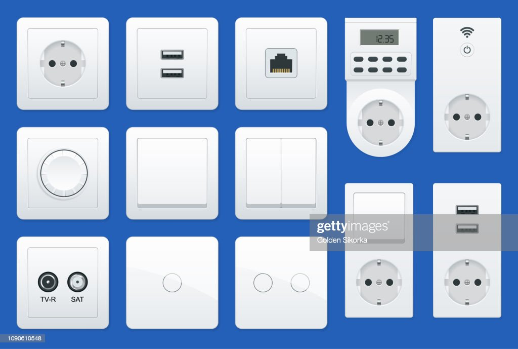Switches and sockets set. All types. AC power sockets realistic illustration
