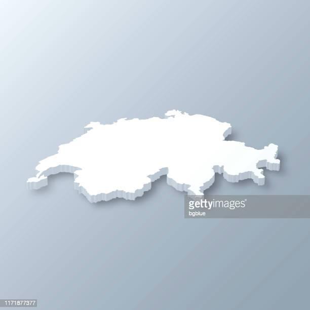 schweiz 3d karte auf grauem hintergrund - schweiz stock-grafiken, -clipart, -cartoons und -symbole