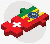 Switzerland and Ethiopia Flags