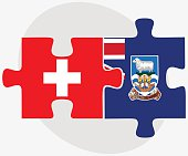 Switzerland and Falkland Islands Flags