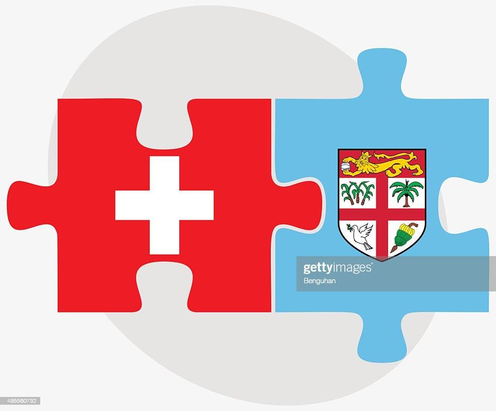Switzerland and Fiji Flags