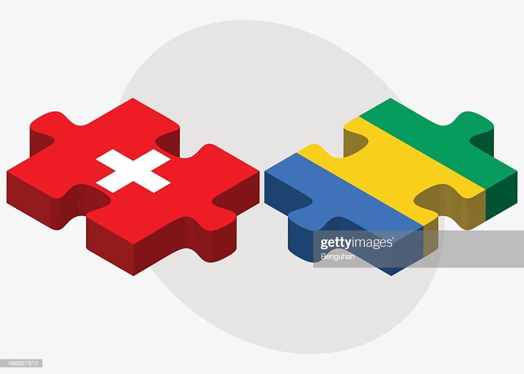 Switzerland and Gabon Flags