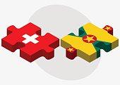 Switzerland and Grenada Flags