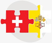Switzerland and Holy See - Vatican City State Flags