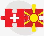 Switzerland and Macedonia Flags