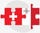 Switzerland and Malta Flags