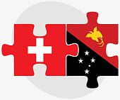 Switzerland and Papua New Guinea Flags