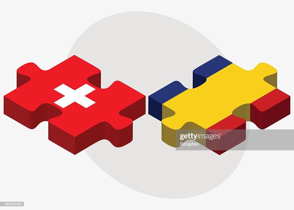 Switzerland and Romania Flags