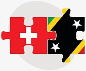 Switzerland and Saint Kitts and Nevis Flags