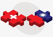 Switzerland and Taiwan Flags