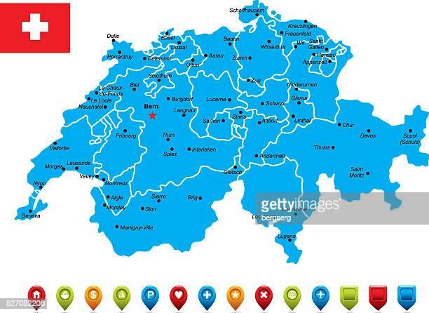 switzerland blue map - sion switzerland stock illustrations