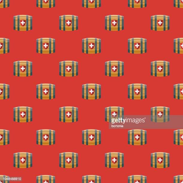 switzerland brandy barrel seamless pattern - brandy stock illustrations, clip art, cartoons, & icons