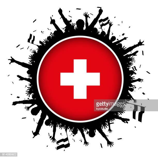 switzerland button flag with soccer fans 2018 - swiss culture stock illustrations