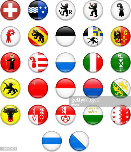 switzerland cantonal complete button flag collection - valais canton stock illustrations