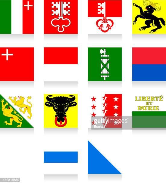 switzerland cantonal flag collection-part 2 - valais canton stock illustrations
