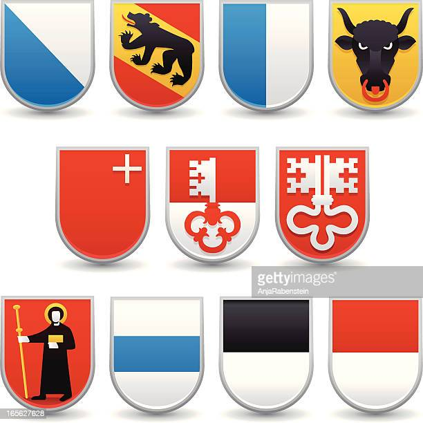 switzerland cantons coats of arms - swiss culture stock illustrations