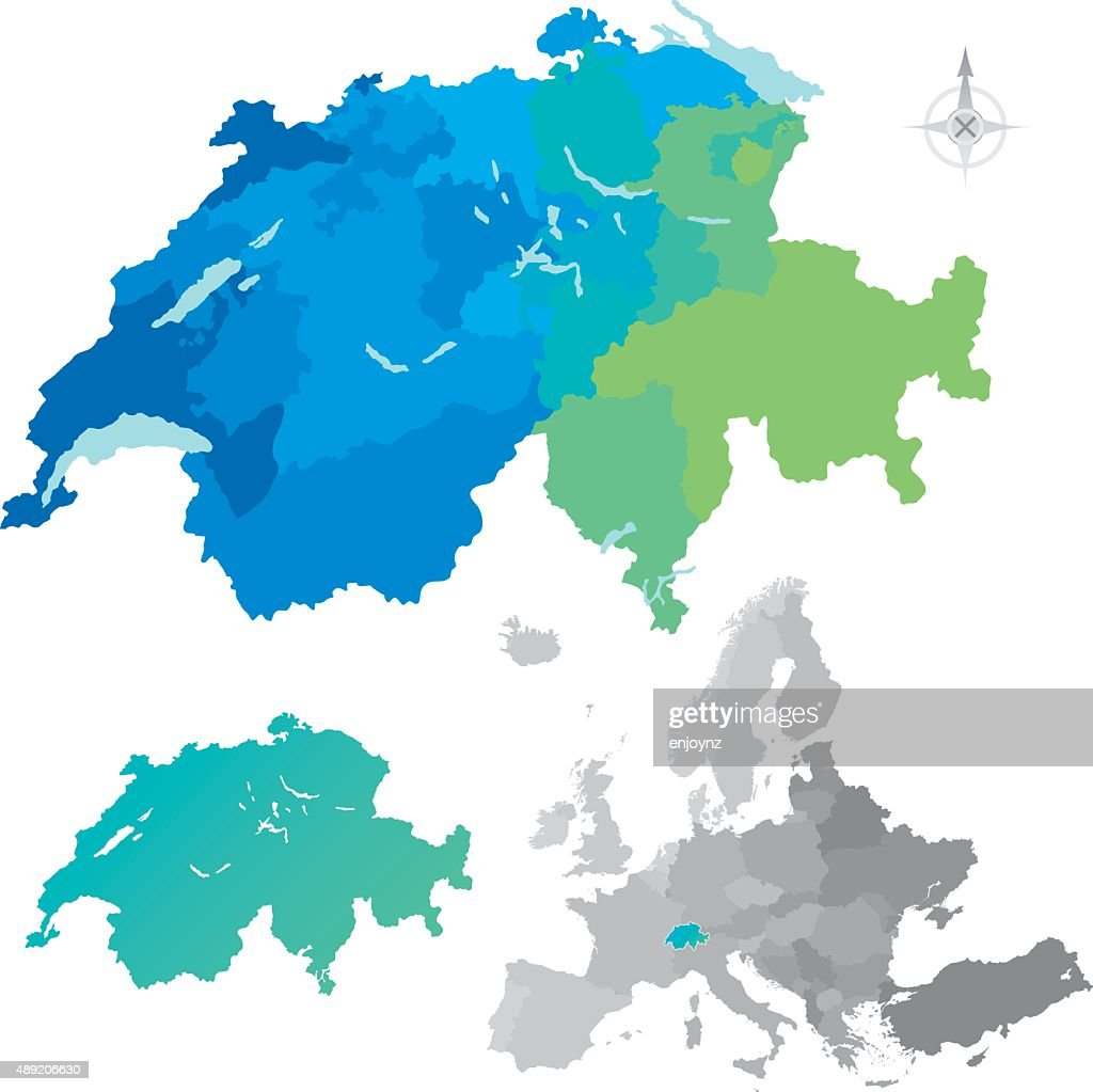 Switzerland Cantons Europe Map