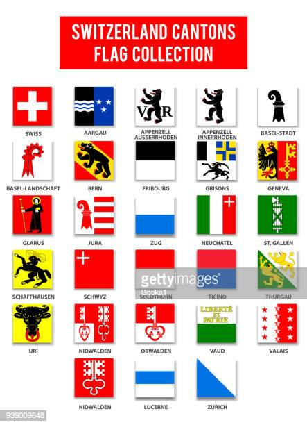 switzerland cantons flag collection - complete - swiss culture stock illustrations