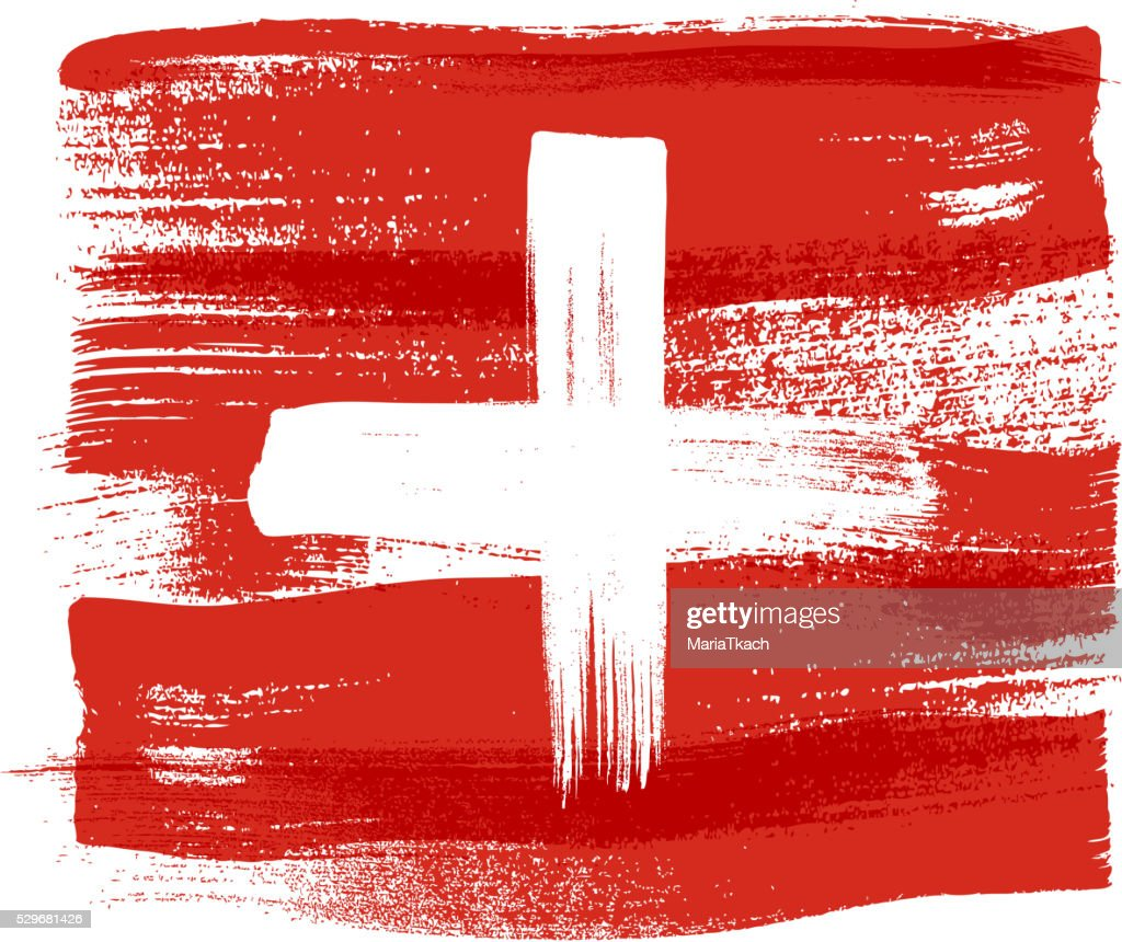 Switzerland colorful brush strokes painted flag