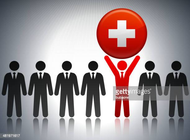 Switzerland Flag Button with Business Concept Stick Figures