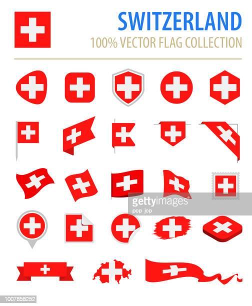 switzerland - flag icon flat vector set - swiss culture stock illustrations