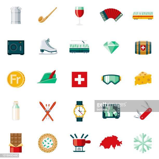illustrations, cliparts, dessins animés et icônes de suisse design plat icon set - ski alpin