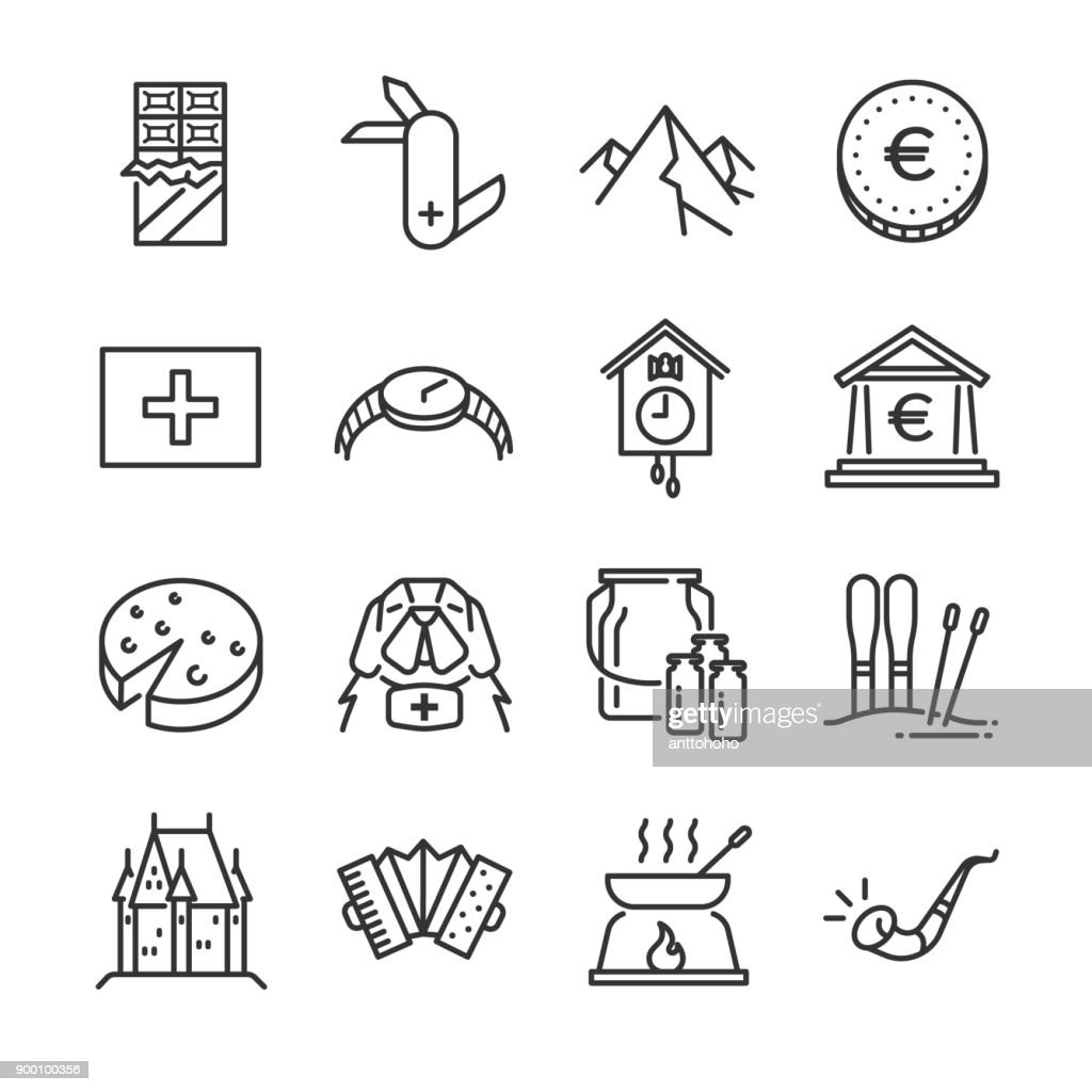 Switzerland icon set. Included the icons as rescue dog, milk, chocolate, cheese, alps mountain, euro coin, castle and more.
