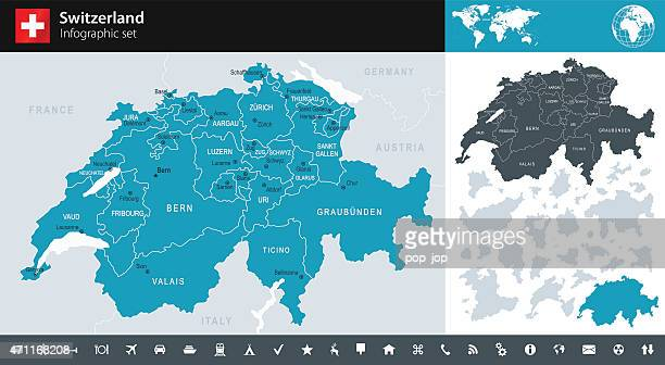 switzerland - infographic map - illustration - switzerland stock illustrations
